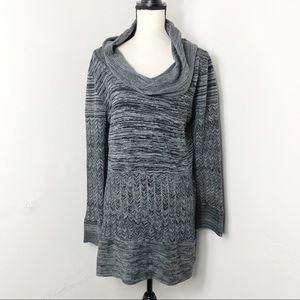 Chelsea & Theodore Grey Sweater Cowl Neck Tunic XL